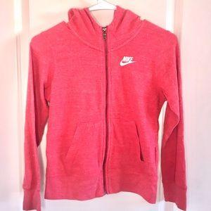 Nike Zip Up Hoodie Sweatshirt Jacket Red Pink L